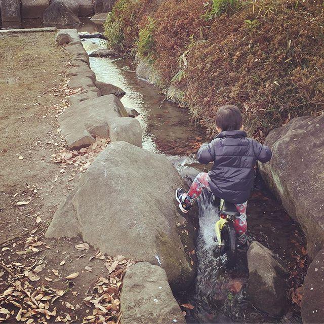#自転車 #沢登り #公園 #水遊び